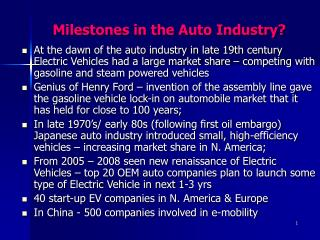 Milestones in the Auto Industry