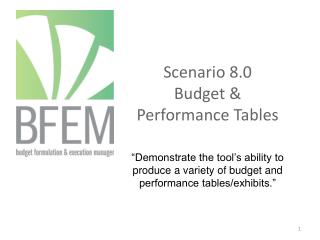 Scenario 8.0  Budget & Performance Tables