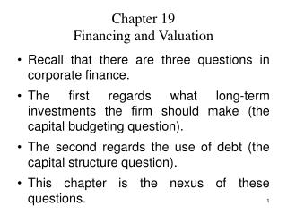 Chapter 19 Financing and Valuation