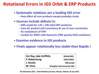 Rotational Errors in IGS Orbit & ERP Products