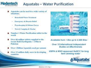 Aquatabs – Water Purification