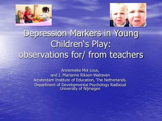 Depression Markers in Young Children's Play: observations for/ from teachers