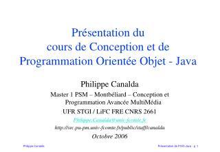 Présentation du  cours de Conception et de Programmation Orientée Objet - Java