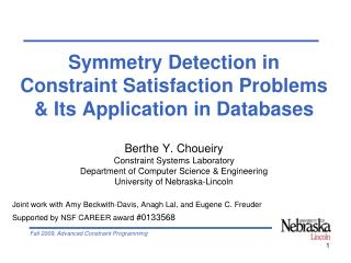 Symmetry Detection in  Constraint Satisfaction Problems  & Its Application in Databases