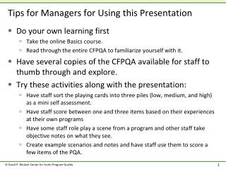 Tips for Managers for Using this Presentation