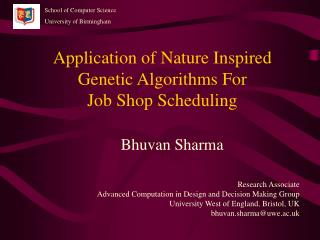 Application of Nature Inspired Genetic Algorithms For  Job Shop Scheduling