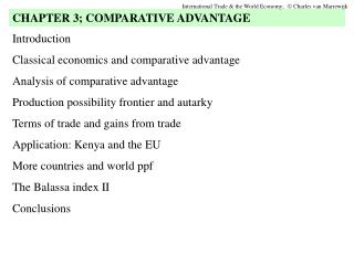 Introduction Classical economics and comparative advantage Analysis of comparative advantage