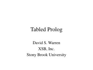 Tabled Prolog