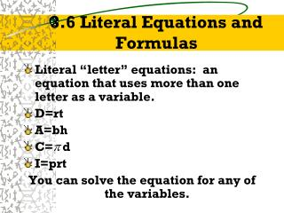 3.6 Literal Equations and Formulas