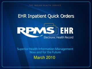 EHR Inpatient Quick Orders