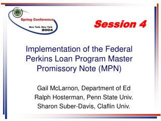 Implementation of the Federal Perkins Loan Program Master Promissory Note (MPN)