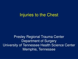 Injuries to the Chest