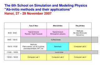 "The 6th School on Simulation and Modeling Physics ""Ab-initio methods and their applications"""