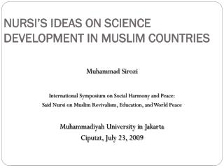 NURSI'S IDEAS ON SCIENCE DEVELOPMENT IN MUSLIM COUNTRIES