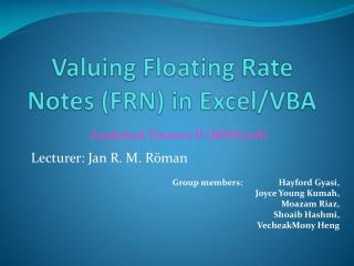 Valuing Floating Rate Notes (FRN) in Excel/VBA