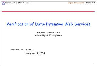 Verification of Data-Intensive Web Services