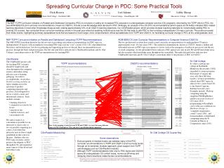 Spreading Curricular Change in PDC: Some Practical Tools