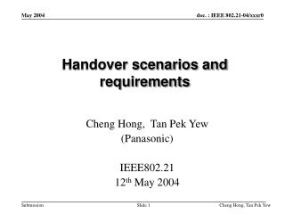 Handover scenarios and requirements