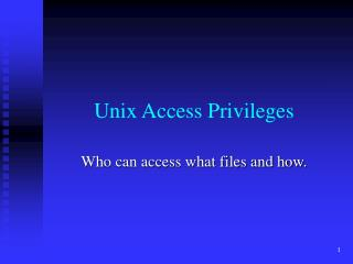 Unix Access Privileges