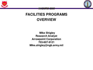 FACILITIES PROGRAMS OVERVIEW Mike Shigley Research Analyst Arrowpoint Corporation 703-607-9121
