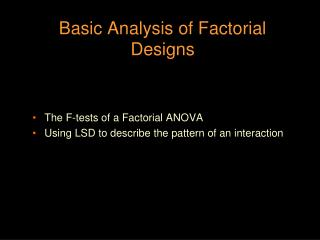Basic Analysis of Factorial Designs