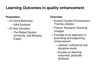 Learning Outcomes in quality enhancement