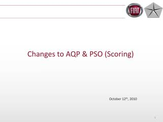 Changes to AQP & PSO (Scoring)