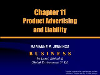Chapter 11 Product Advertising  and Liability
