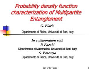 Probability density function characterization of Multipartite Entanglement