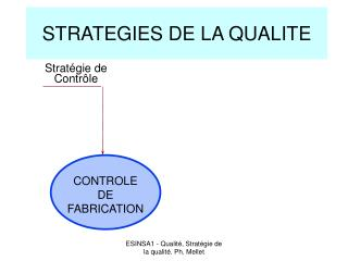 STRATEGIES DE LA QUALITE