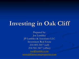 Investing in Oak Cliff