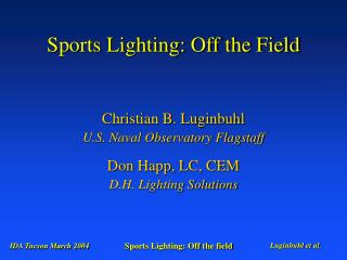 Sports Lighting: Off the Field