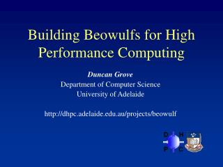 Building Beowulfs for High Performance Computing