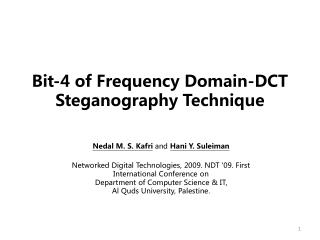 Bit-4 of Frequency Domain-DCT Steganography Technique