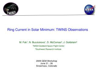 Ring Current in Solar Minimum: TWINS Observations
