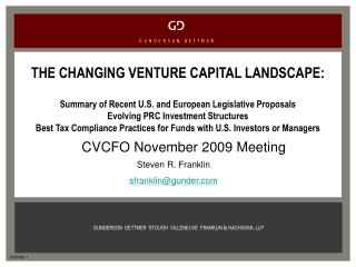 THE CHANGING VENTURE CAPITAL LANDSCAPE:
