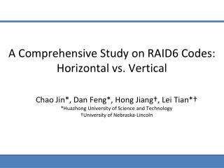 A Comprehensive Study on RAID6 Codes: Horizontal vs. Vertical