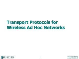 Transport Protocols for Wireless Ad Hoc Networks