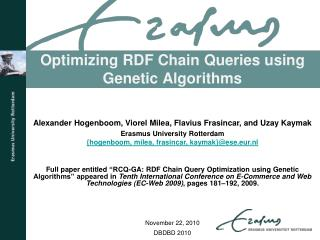 Optimizing RDF Chain Queries using Genetic Algorithms