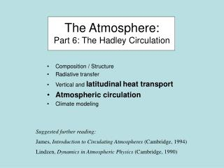 The Atmosphere: Part 6: The Hadley Circulation