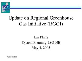 Update on Regional Greenhouse Gas Initiative (RGGI)