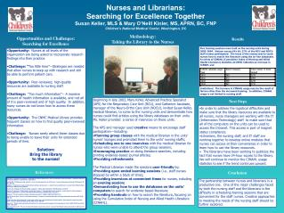 Nurses and Librarians: Searching for Excellence Together