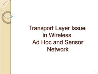 Transport Layer Issue  in Wireless   Ad Hoc and Sensor  Network
