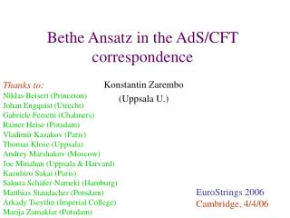 Bethe Ansatz in the AdS/CFT correspondence
