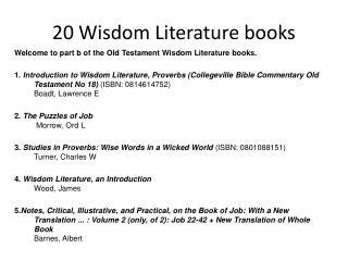 20 Wisdom Literature books