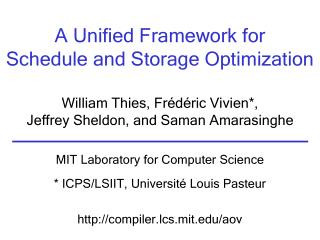 A Unified Framework for Schedule and Storage Optimization