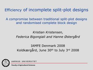 Kristian Kristensen, Federica Bigongiali and Hanne Østergård IAMFE Denmark 2008