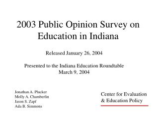 2003 Public Opinion Survey on Education in Indiana