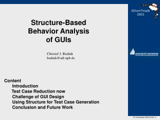 Structure-Based Behavior Analysis of GUIs