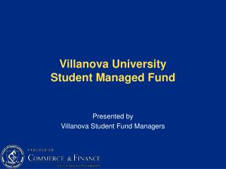 Villanova University  Student Managed Fund